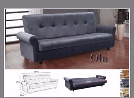 CLICK CLACK SOFA BED--- FABRIC SOFA BED WITH STORAGE 3 SEATER AVAILABLE NOW