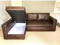 Corner Sofa-Bed Brown leather colour with Storage - Good condition -Stain,Smoke & Pet free