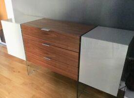 Modern Light grey and Walnut sideboard. 6 months old as new