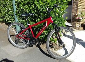Apollo feud mountain bike, 14 inch;frame 18spd,red, newly rebuilt