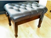 Deluxe Piano Stool / Bench . Deep button plush leather. Adjustable Height