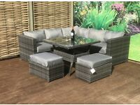 Homeflair Rattan Garden Furniture Georgia Grey Dining Table Corner Sofa Set + 2 Stools £649