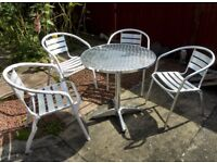 Garden Aluminium Table and Chairs (4) in very good condition
