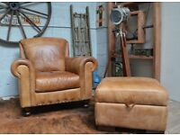 Chesterfield Leather Vintage Armchair + Footstool Tan Studs