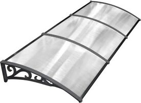 Door Canopy Awning Window Rain Shelter Cover for Front Door Porch Black(270 x 98.5cm)