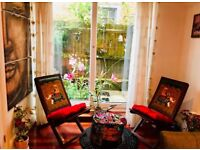 Indian hand painted wooden armchairs