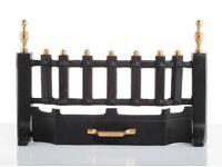 Slemcka Cast Iron Fire Fret with brass finials