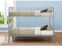 BRAND NEW HUMZA AMANI SINGLE METAL BUNK BED FRAME WITH 2 QUILTED FOAM MATTRESSES ROLLED UP
