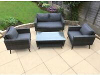 Homeflair Rattan Garden Furniture Tilly grey 2 seater sofa + Dining table + 2 chairs set £449