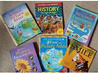 6 Large childrens books, World Atlas, Animal Atlas,History, Encyclopedia, science