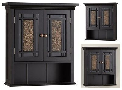Bathroom Wall Cabinet Wood Storage Cupboard Kitchen Pantry Toilet Shelf Doors