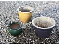 Ceramic garden plant containers.