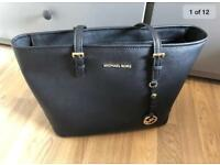 Michael Kors Jetset Black Leather Tote Bag