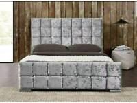 NEW Cube crushed velvet/chenille bed WITH MATTRESS