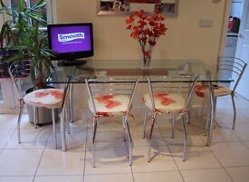 Contemporary 5.2 ft Dining Table with 4 Chairs, Clear Glass Top and Chrome Legs