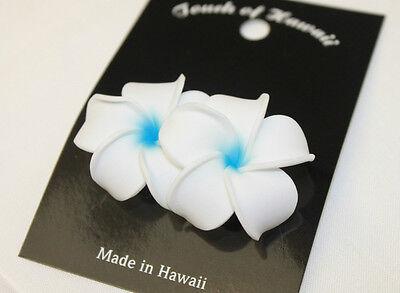Hawaii Braut Hochzeitsfeier Blumen Haarspange Weiß Blau Plumeria ~ 2er Set
