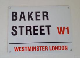 Metal Sign Baker Street Sherlock Holmes Road Sign