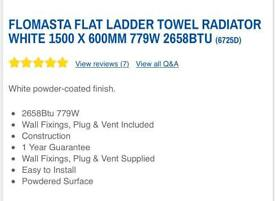 New Flomasta Flat White Towel Radiator 1500 by 600