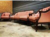 Vintage french rococo style leather suite sofa and armchairs