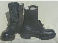 Army style fashionable brand new pair of black leather boots ~ size 5