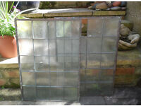 vintage leaded square glass windows, two panes , 15 x 20 inches,
