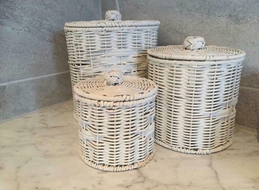 5 Rattan Cylindrical Bathroom Storage Baskets Set Of 3 In Worcester Park London Gumtree