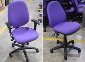 30 x Purple fabric office swivel operator task chairs