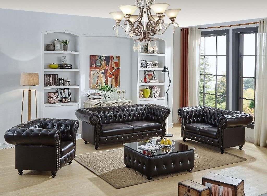New Real Italian Leather Chesterfield Sofa Set Coffee Table
