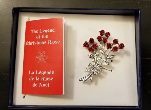 Vintage Christmas Rose Brooch Pin with Legend Card in Original Gift Box