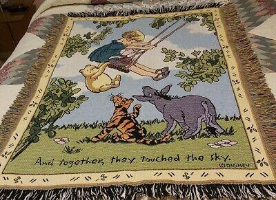 Rare Classic Disney Winnie The Pooh Tapestry Throw Blanket