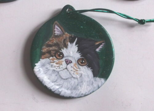 Exotic Shorthair Calico Cat Christmas Ornament Decoration Hand Painted Ceramic