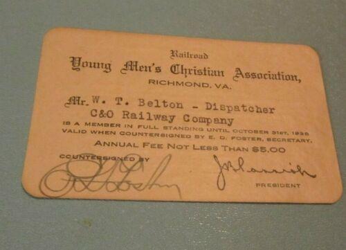 1938 Railroad YMCA of Richmond Virginia Signed Membership Card C&O Railway Co.