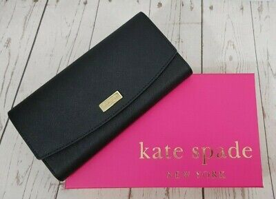 Kate Spade New York Caia Laurel Way Saffiano Leather Wallet Black New in a Box