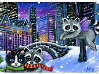 Original Raccoon Cat Kitten White Swan Winter Snow Sunset Lake Warmth ACEO Print