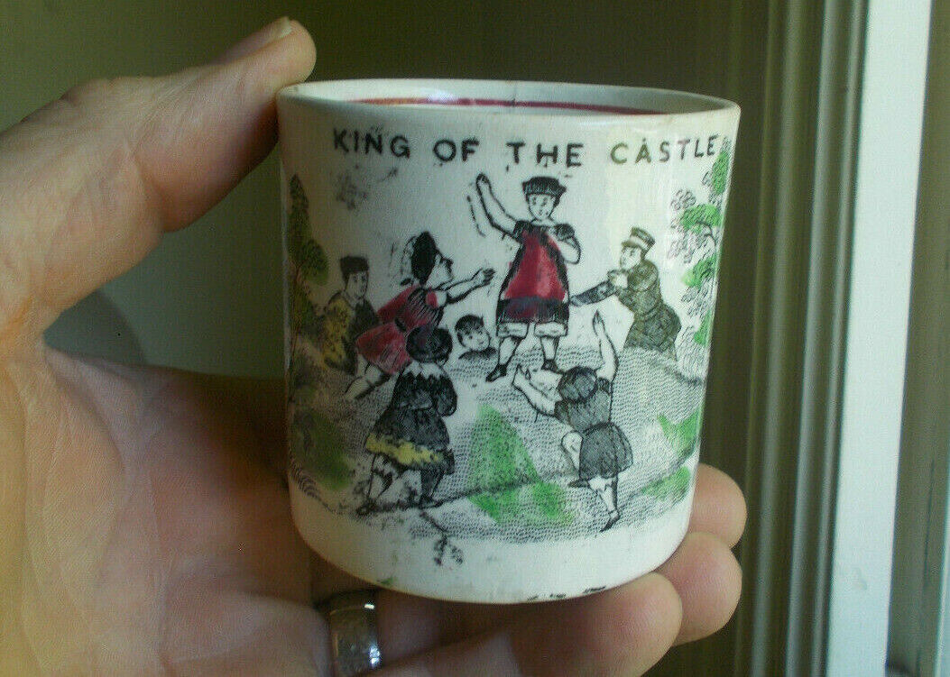 1860s KING OF THE CASTLE KIDS GAME STAFFORDSHIRE CHINA POTTERY CHILDS MUG