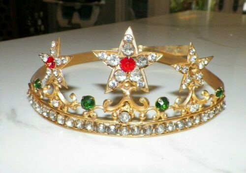 VINTAGE TIARA CROWN GOLDTONE WITH STARS AND RHINESTONES MADE IN FRANCE