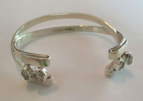 Signed Lilly Barrack 925 Sterling Silver Modern Cuff Bracelet Clear White Stones