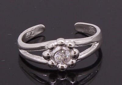 Sterling Silver Toe Ring Flower Shaped Adjustable  With Cubic Zirconia Stone