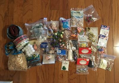 Mixed LOT Craft Supplies JUNK DRAWER Doll hair, wooden items, seasonal, bells + Doll Craft Supplies