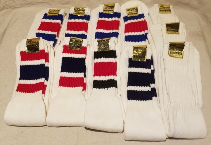 Vintage Lot Of 11 Tube Socks NOS Striped