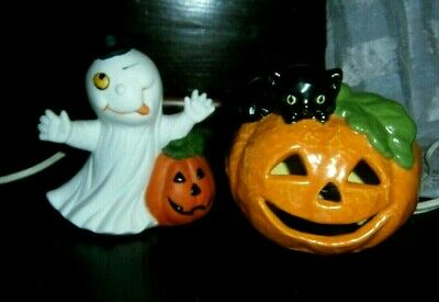 vtg Halloween ceramic Light lamp pumpkin ghost lot Jack O' Lantern biack cat MWT
