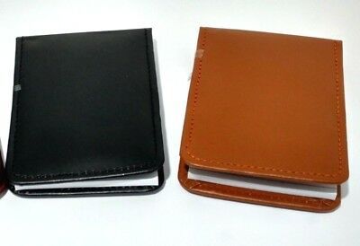 Stylish Leather Pocket Mini Note Pad Cover With Ruler Pad In Black Brown
