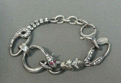 Iosselliani Sterling Silver Snake and Panther Bracelet With Cubic Zirconias 7.5""