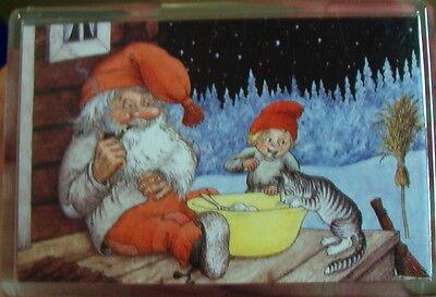 Magnet Acryl Kühlschrankmagnet Weihnacht Trolle mit Kätzchen Rolf Lidberg