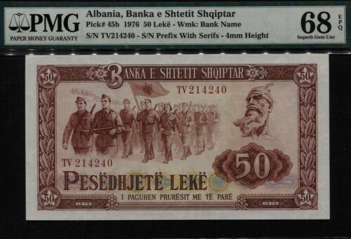 TT PK 45b 1976 ALBANIA 50 LEKE - BANKA E SHTETIT SHQIPTAR PMG 68 EPQ NONE FINER!