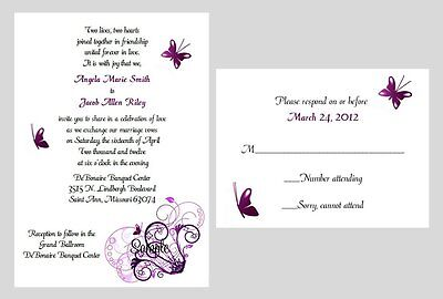 100 Personalized Custom Purple Butterfly Bridal Wedding Invitations Cards Set