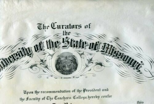 "1908 University Missouri College Graduation Cert - RODES Family, 19""x16"""