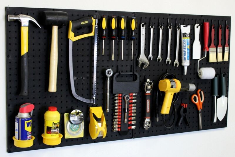 Wall Mount Pegboard Tool Organizer Kit Peg Board Hooks Garage Storage New #24242