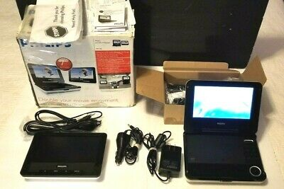 """Philips PET708/37 7"""" Portable DVD Player with a Second 7"""" TFT LCD Screen - White"""