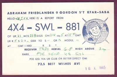 Vintage QSL Radio Card 4X4SWL881 Gordon S'T Kfar-Saba Abraham Friedlander 1965, used for sale  Tallahassee